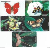 SIERRA LEONE Série Papillons 5 Cartes MINT NEUVE SLNTC URMET Butterfly - Sierra Leone