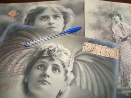 WOMAN 3 DIFFERENT CA1900  PORTRAIT GIANT RARE 30 CM ! REAL PHOTO POSTCARDS RPPC - Photographs