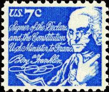 1972 USA Benjamin Franklin Stamp Sc#1393d Famous Postmaster Scientist Inventor Book Post Language - Languages