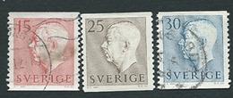 Svezia, Sverige, SUEDE, Schweden 1957; Re Gustavo Adolfo VI ; 3 Valori Di Posta Ordinaria : 15 + 25 + 30. Used