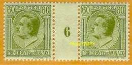 Monaco **LUXE 1924 P 89 Paire En Millésime 6 - Unused Stamps