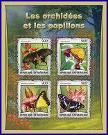 CENTRAL AFRICA 2017 ** Butterflies Schmettelinge Papillons Orchids M/S - OFFICIAL ISSUE - DH1710 - Schmetterlinge