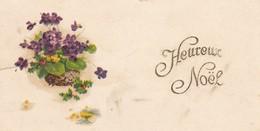 MINI CARTE---HEUREUX NOEL---fleurs--voir  2 Scans - Old Paper
