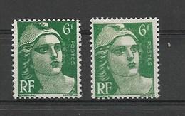 FRANCE 1951 /  Marianne De Gandon Lot De 2 Ex. YT 884**  Neuf Sans Charnière >>> DIFFERENCE DE COULEUR +++ - 1945-54 Maríanne De Gandon