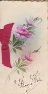 MINI CARTE---BONNE FETE---fleurs + Ruban----Carte 2 Volets -voir 3 Scans - Old Paper
