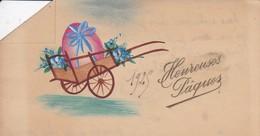 MINI CARTE---HEUREUSES PAQUES---fleurs + Charrette----voir 2 Scans - Old Paper
