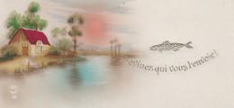 MINI CARTE--DEVINEZ QUI VOUS L'ENVOIE !---paysage + Maison + Lac---voir 2 Scans - Old Paper