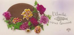 MINI CARTE--L'AMITIE VOUS L'ENVOIE---fleurs---voir 2 Scans - Old Paper