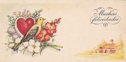 MINI CARTE--MUCHAS FELICIDADES---fleurs + Coeur + Oiseau + Maison ---voir 2 Scans - Old Paper