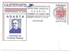 ENTIER REPIQUE ET 1 ER JOUR FLAMME CENTENAIRE INSTITUT PASTEUR CLERMONT FERRAND 1988 - Postal Stamped Stationery