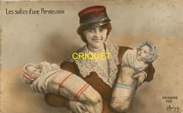Guerre 14-18 Illustrée Par Morinet, Les Suites D'une Permission, Femme De Poilu Avec Des Jumeaux - Guerre 1914-18