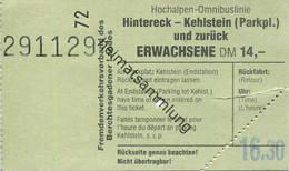 Deutschland - Hochalpen-Omnibuslinie - Hintereck - Kehlstein Und Zurück - Fahrkarte - Fremdenverkehrsverband Des Berchte - Bahn
