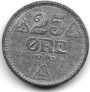 *norway 25 Ore 1943 Km 395  Xf - Noorwegen