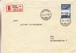 Finlande - Lettre Recom FDC De 1950 - Oblit Helsinki - Exp Vers Äbo - Cachet Turku Äbo - Avions - Valeur 100 € - Cartas