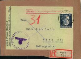 1944, Paketadresse Ab RIGA Mit 80 Pfg. Hitler - Besetzungen 1938-45