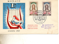 8FDC MONACO  EUROPA   TIMBRE    N° YVERT ET TELLIER  618/9  1963 - FDC