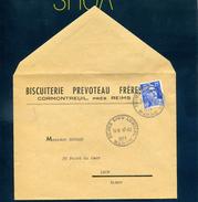 Reims Dieu Lumière 1953 Type A5 Horoplan Autoplan 886 Gandon Seul Tarif 15F Biscuiterie Prevoteau Frères Cormontreuil - Storia Postale