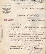 VP9613 - Lettre - Société Anonyme D'Electricité ¨ MORS ¨ à PARIS Avenue Percier - Electricity & Gas