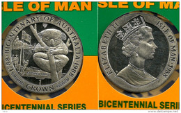 ISLE OF MAN 1 CROWN KOALA ANIMAL 200 YEARS AUSTRALIA FRONT QEII HEAD BACK 1988 KM? UNC READ DESCRIPTION CAREFULLY !!! - Isle Of Man