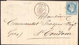Lettre/enveloppe De NERAC Du 31 OCT 1869 Via CONDOM (Gers) - Marcofilia (sobres)