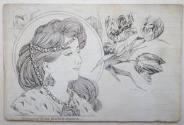 Litho Art Nouveau Dos Bleu ILLUSTRATEUR Kosa Mucha ? Portrait Femme Et Tulipe Art Nouveau Suppl. Broderie Illustree - Illustrateurs & Photographes