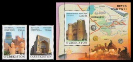 Uzbekistan 2009 Mih. 827/28 + 829 (Bl.52) Great Silk Road MNH ** - Usbekistan