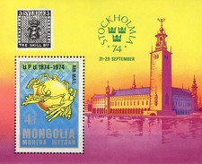 Rathaus EXPO Stockholmia1974 Mongolei Block 38 ** 10€ UPU Erd-Kugel Hojitas Bloc S/s Philatelics Sheet Bf Mongolia - Mongolie