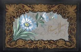 JOLIE CPA FANTAISIE CELLULOID CELLULOIDE DOREE OR - Art Nouveau Art Déco - Peinte à La Main - Fleurs - Bonne Année -#458 - Nouvel An