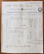 FATTURA PUBBLICITARIA  JOHNN WUNSCHE & C,. IN SCHONLINDE  KRASNA LÍPA MODA ABBIGLIAMENTO   Del 29/8/1865 - Austria