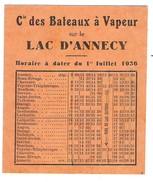 Horaires 1936 Des Bateaux à Vapeur Navigant Sur Le Lac D'ANNECY - Europe
