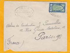 24 8 1939 - Enveloppe De Pondichéry, établissement Français En Inde Vers Paris, France  - Timbre Seul Sur Lettre - Inde (1892-1954)