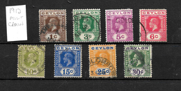 Ceylon, 1912 KGV Definitives Selection To 30c, Good Used (4994) - Ceylon (...-1947)