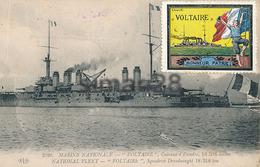 MARINE NATIONALE - N° 2028 - VOLTAIRE CUIRASSE D'ESCADRE (AVEC VIGNETTE) - Oorlog