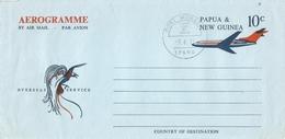 Papua New Guinea 1971 Port Moresby Bird Of Paradise Blue FDC Aerogramme - Papoea-Nieuw-Guinea