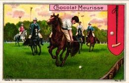 3 Trade Cards Chromo  POLO On Horse Badminton  Pub  Choc Meurisse Savon Le Fer à Cheval La Kabiline 2 Match Box Label - Parachutting