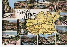04 BASSES ALPES Carte Département (Villars Colmar, Allos, Oraison, Beauvezer, Lafoux, St André, Moustiers...) - Autres Communes