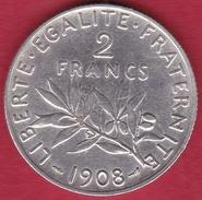 France 2 Francs Argent Semeuse 1908 - Frankreich