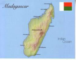 1 X Map & Flag - Carte Géographique Et Drapeau - Madagascar - Landkarten