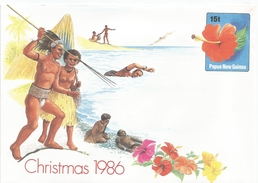 Papua New Guinea 1986 Hibiscus Flower Christmas Postal Stationary Cover - Papoea-Nieuw-Guinea