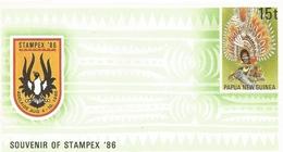 Papua New Guinea 1986 Feather Headdress Drum Postal Stationary Cover - Papoea-Nieuw-Guinea
