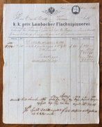 FATTURA PUBBLICITARIA  LINZ 4/10/1866 K.K.PRIV.LAMBACHER FLACHSSPINNEREI   CON MARCA DA BOLLO - Austria