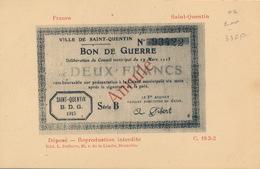 FRANCE - SAINT QUENTIN  DEUX FRANCS - BON DE GUERRE - Monnaies (représentations)