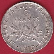 France 2 Francs Argent Semeuse 1910 - France