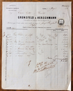 FATTURA PUBBLICITARIA   GRÜNSFELD & HERSCHMANN Chincaglierie E Galanterie In VIENNA DEL 18/6/1866    CON MARCA DA BOLLO - Autriche