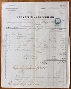 FATTURA PUBBLICITARIA   GRÜNSFELD & HERSCHMANN Chincaglierie E Galanterie In VIENNA DEL 23/11/1865    CON MARCA DA BOLLO - Autriche
