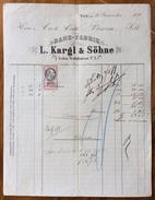 FATTURA PUBBLICITARIA   BAND-FABRIK L.KARGL & SOHNE   WIEN Chincaglierie E Galanterie In  DEL 1865 CON MARCA DA BOLLO - Autriche