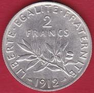 France 2 Francs Argent Semeuse 1912 - TTB - France