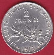 France 2 Francs Argent Semeuse 1913 - TTB/SUP - France