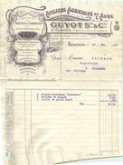 FACTURE  Ateliers Agricoles De L'aude GUYOT  Carcassonne 1915 Avec Enveloppe D'envoi  2 Scans - Landbouw