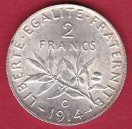 France 2 Francs Argent Semeuse 1914 C - FDC - France